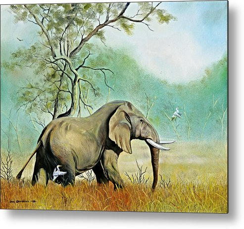 Wildlife Metal Print featuring the painting Alert by Don Griffiths