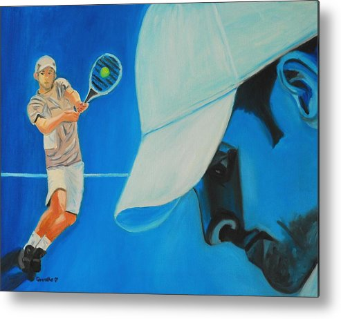 Andy Metal Print featuring the painting Andy Roddick by Quwatha Valentine