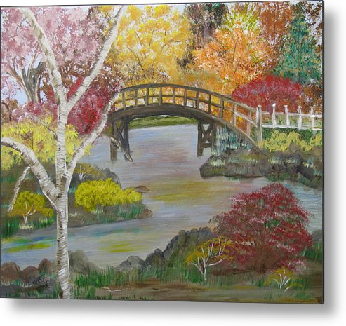 Landscape Metal Print featuring the painting Autum Bridge by Mikki Alhart
