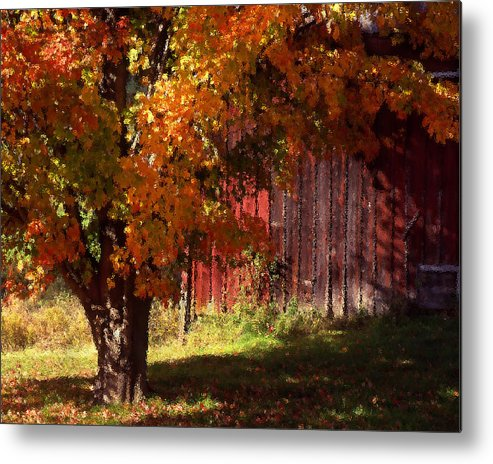 Landscape Metal Print featuring the photograph Autumn Barn by Barry Shaffer