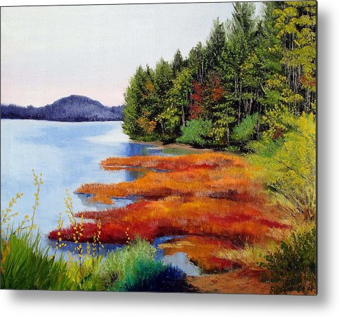 Maine Nature Oil Paintings Original Art Metal Print featuring the painting Autumn Bay Marsh by Laura Tasheiko