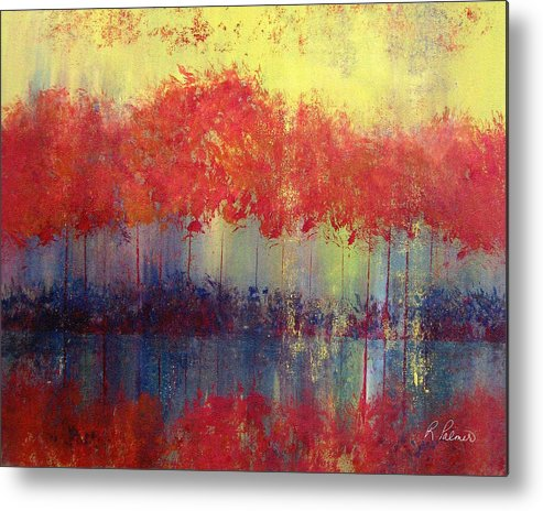 Abstract Metal Print featuring the painting Autumn Bleed by Ruth Palmer