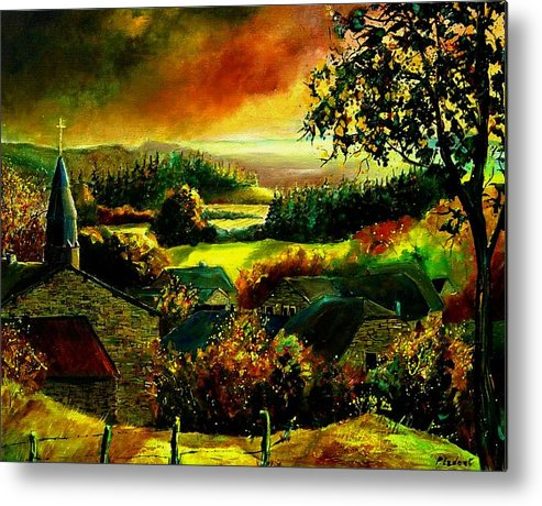 Landscape Metal Print featuring the painting Autumn In Our Village Ardennes by Pol Ledent