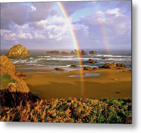 Ocean Metal Print featuring the photograph Bandon Beach Rainbow Sunrise by Ed Riche