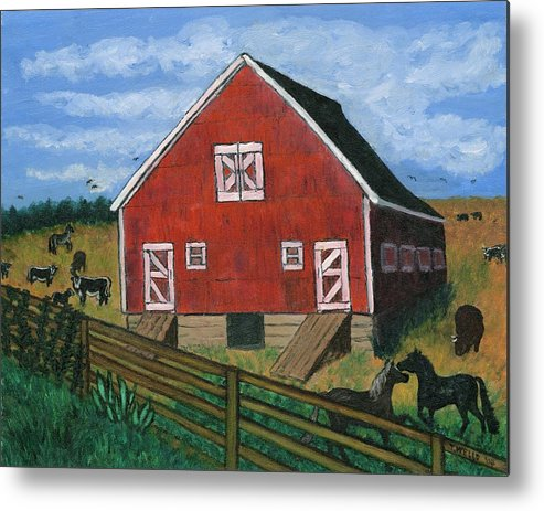 Big Red Barn Surrounded By Horses Metal Print featuring the painting Barnyard On The Prairie by Tanna Lee M Wells