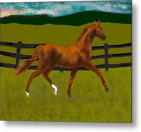 Horse Metal Print featuring the digital art Big Duke by Carole Boyd