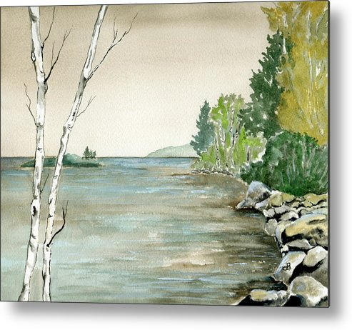 Landscape Watercolor Birches Trees Lake Pond Water Sky Rocks Metal Print featuring the painting Birches By The Lake by Brenda Owen