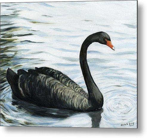 Black Swan Metal Print featuring the painting Black Swan by Charlotte Yealey