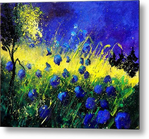 Flowers Metal Print featuring the painting Blue Poppies by Pol Ledent