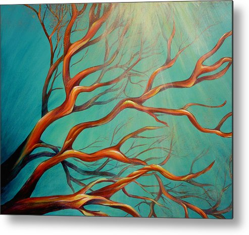 Coral Sea Ocean Underwater Beach Aquatic Reef Diving Contemporary Close-up Aquatica Series Metal Print featuring the painting Branching Out by Dina Dargo
