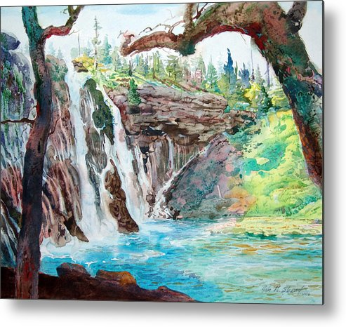 Watercolor Metal Print featuring the painting Burney Falls by John Norman Stewart