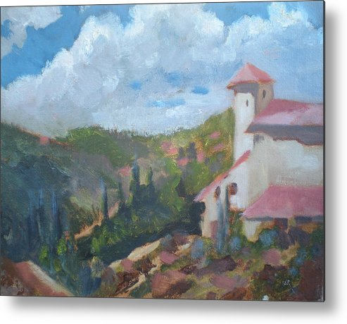 Landscape Off Del Dios Highway Metal Print featuring the painting Cielo Villa by Bryan Alexander