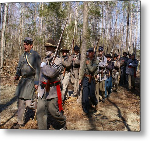 Civil War Metal Print featuring the photograph Civil War Soldiers March Through Woods by Rodger Whitney