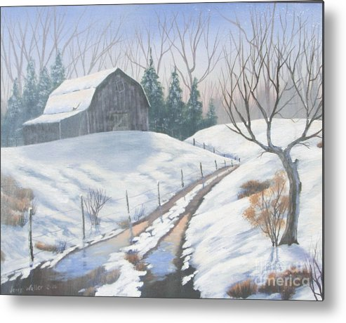 Landscape Metal Print featuring the painting Cold Country by Jerry Walker
