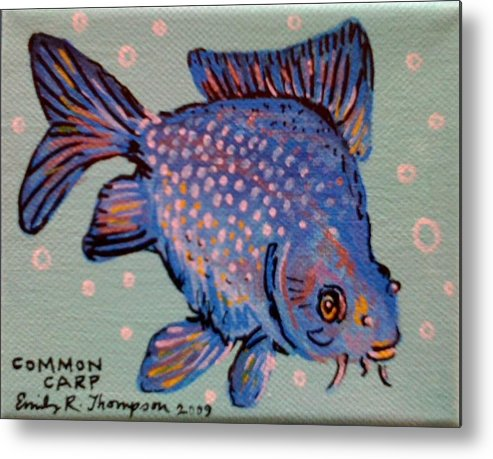 Fish Whimsical Animal Tropical Carp Goldfish Metal Print featuring the painting Common Carp by Emily Reynolds Thompson