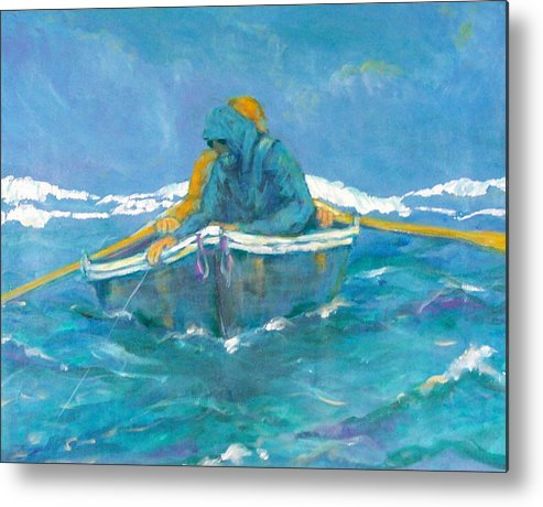 Fishermen Metal Print featuring the painting Crossing Over by Ruth Mabee