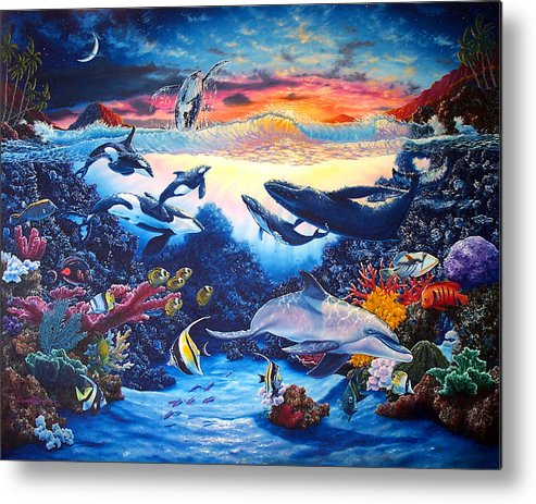 Whale Metal Print featuring the painting Crystal Shore by Daniel Bergren