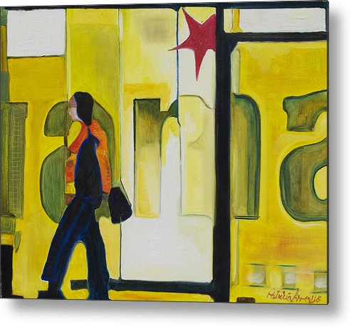 Abstract Metal Print featuring the painting Dam Shopper by Patricia Arroyo
