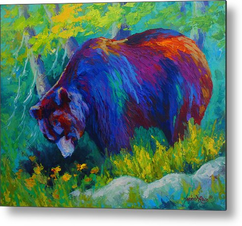 Western Metal Print featuring the painting Dandelions For Dinner - Black Bear by Marion Rose