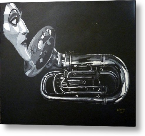 Tuba Metal Print featuring the painting Don't You Dare Play That by Richard Le Page