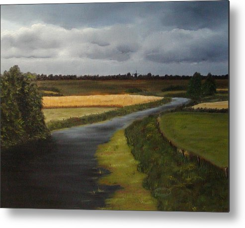 Original Landscape In Oil Metal Print featuring the painting Emsland Germany by Sharon Steinhaus