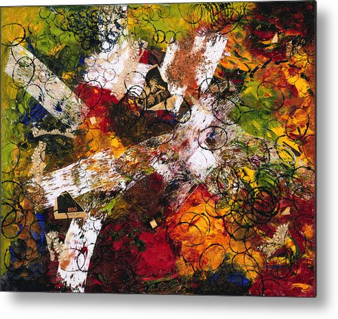 Abstract Metal Print featuring the painting Evocation by Dominique Boutaud