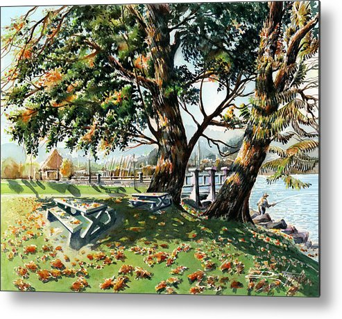 Landscape Metal Print featuring the painting Fall Shapes Roky Point Park by Dumitru Barliga