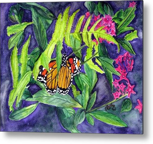 Butterfly Metal Print featuring the painting Fluttering By by Karla Mathey