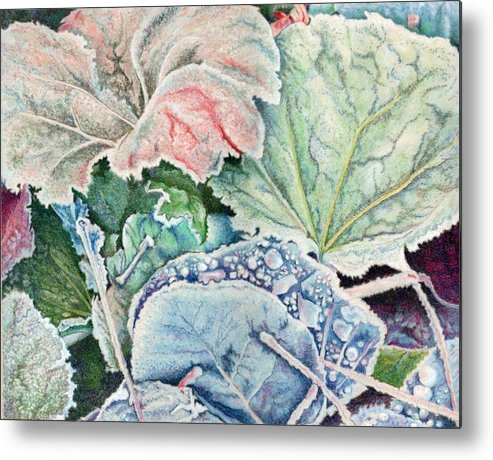 Leaves Metal Print featuring the painting Frosted Leaves by Robynne Hardison