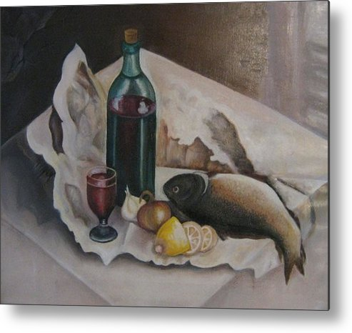 Still Life Metal Print featuring the painting Frugal Meal by Netka Dimoska