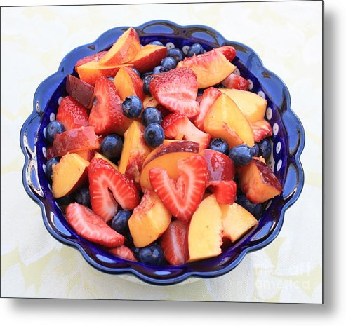 Food And Beverages Metal Print featuring the photograph Fruit Salad In Blue Bowl by Carol Groenen