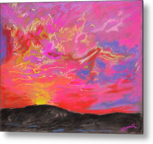 Landscape Metal Print featuring the painting Glorious Sunset 5 by Laura Heggestad