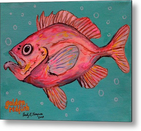 Fish Whimsical Animal Redfish Ocean Pink Metal Print featuring the painting Golden Redfish by Emily Reynolds Thompson