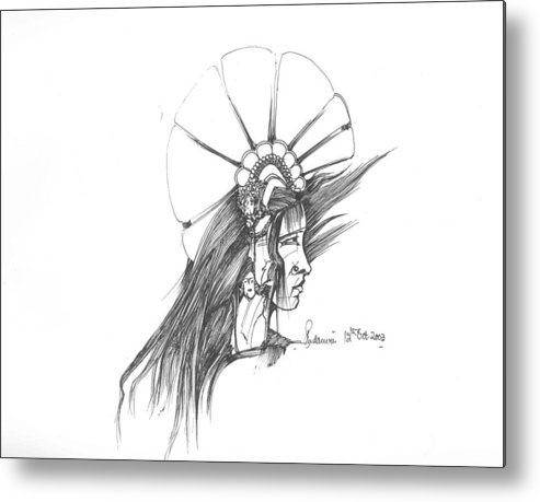 Human Metal Print featuring the drawing Head by Padamvir Singh