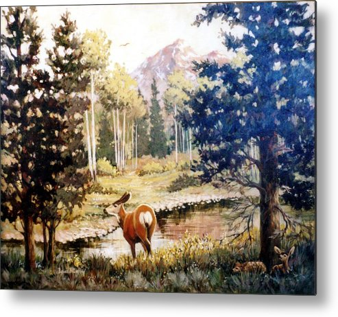Deer Metal Print featuring the painting Hidden Babies   Doe And Fawns by JoAnne Corpany