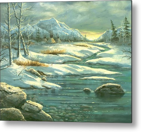 Landscape Metal Print featuring the painting High Winter Camp by Brooke Lyman