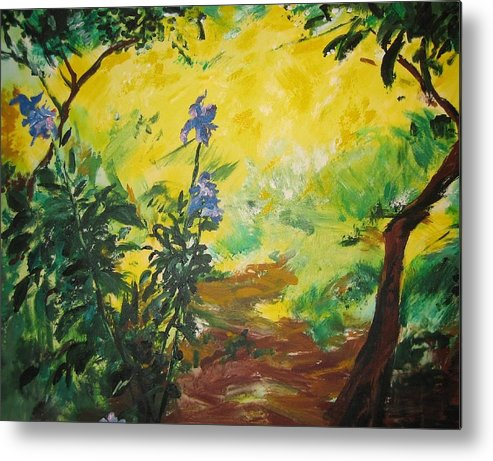 Sunlight Metal Print featuring the painting Irises And Sunlight by Lizzy Forrester