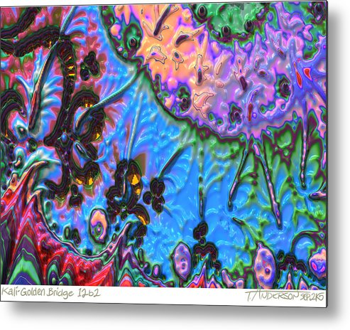 Fractal Image Metal Print featuring the digital art kaleido fa-GoldenBridge12b2 by Terry Anderson