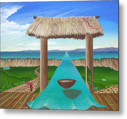 Surreal Painting Metal Print featuring the painting Kava Flow by Sharon Ebert