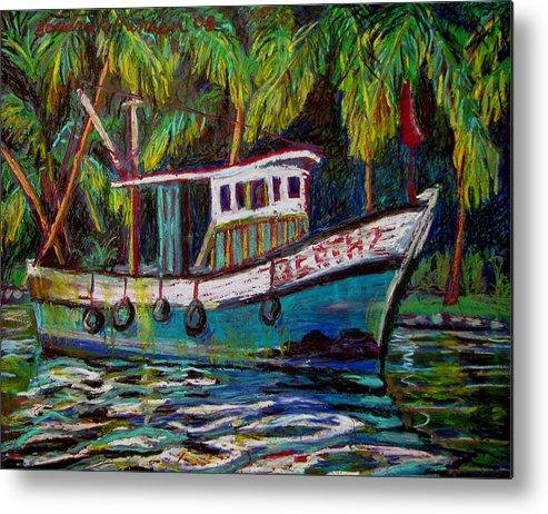 Kerala Metal Print featuring the painting Kerala Fishing Boat by Art Nomad Sandra Hansen