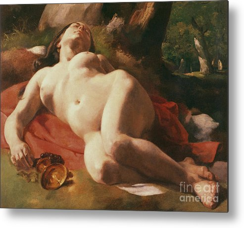 La Bacchante Metal Print featuring the painting La Bacchante by Gustave Courbet