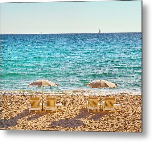 Horizontal Metal Print featuring the photograph La Croisette Beach, Cannes, Cote D'azur, France by John Harper