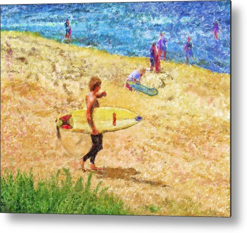 Surfers Metal Print featuring the mixed media La Jolla Surfers by Marilyn Sholin