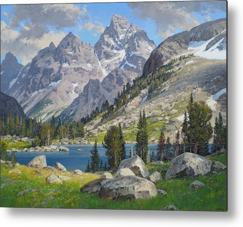 Landscape Metal Print featuring the painting Lake Solitude by Lanny Grant