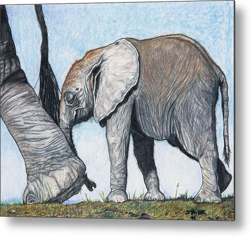 Elephants Metal Print featuring the mixed media Leading The Way by Stephen Taylor