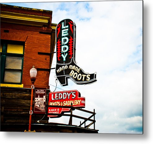 Neon Sign Metal Print featuring the photograph Leddy's Boots by David Waldo