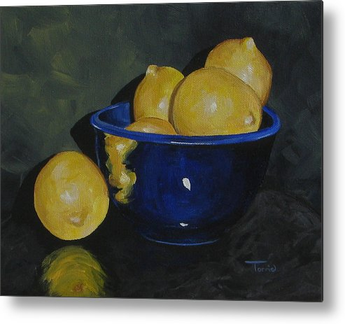Lemons Metal Print featuring the painting Lemons And Blue Bowl IIi by Torrie Smiley