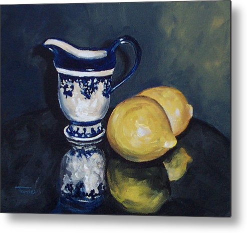 Cream Metal Print featuring the painting Lemons And Cream by Torrie Smiley