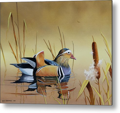 Duck Metal Print featuring the painting Mandarin Duck by Don Griffiths