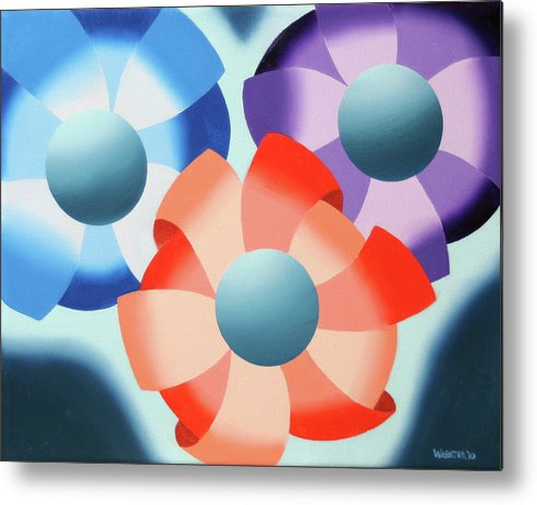 Abstract Metal Print featuring the painting Mark Webster - Abstract Futurist Flowers 2 Oil Painting by Mark Webster